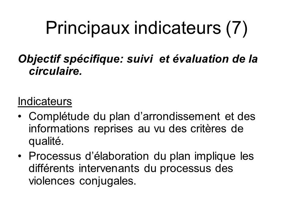 Principaux indicateurs (7)