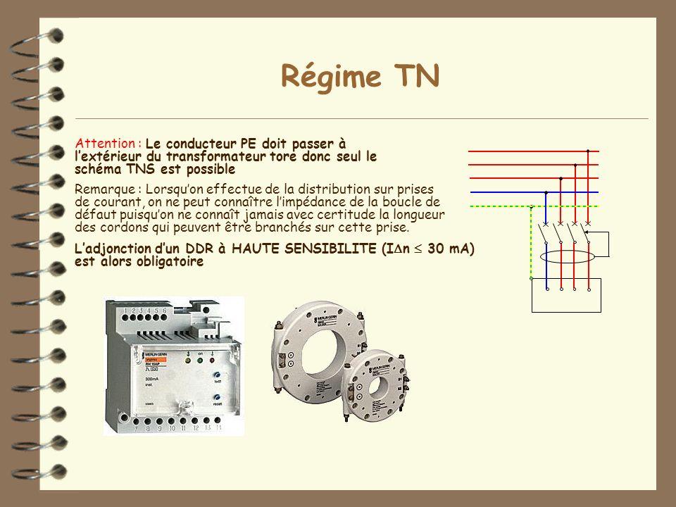Régime TN Attention : Le conducteur PE doit passer à l'extérieur du transformateur tore donc seul le schéma TNS est possible.