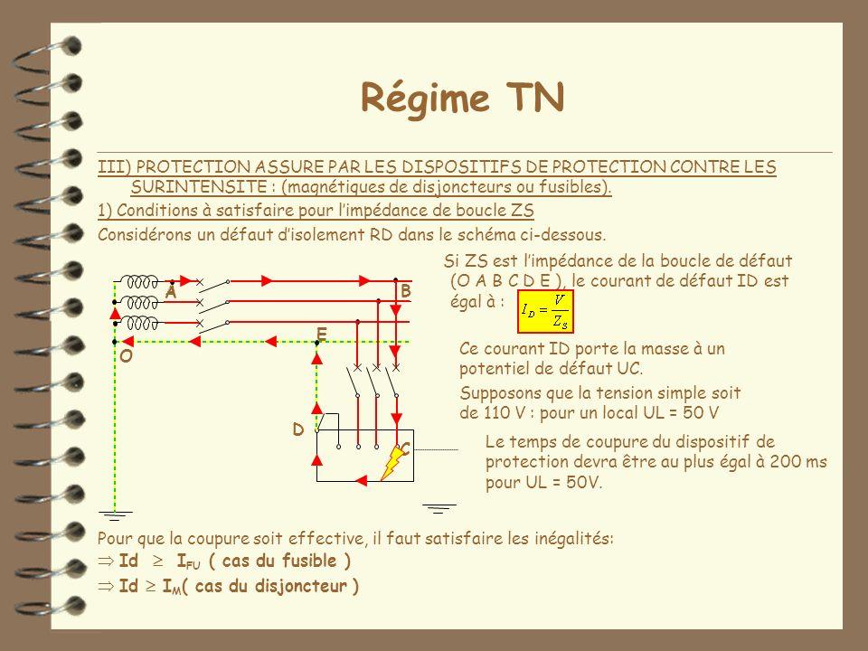 Régime TN III) PROTECTION ASSURE PAR LES DISPOSITIFS DE PROTECTION CONTRE LES SURINTENSITE : (magnétiques de disjoncteurs ou fusibles).