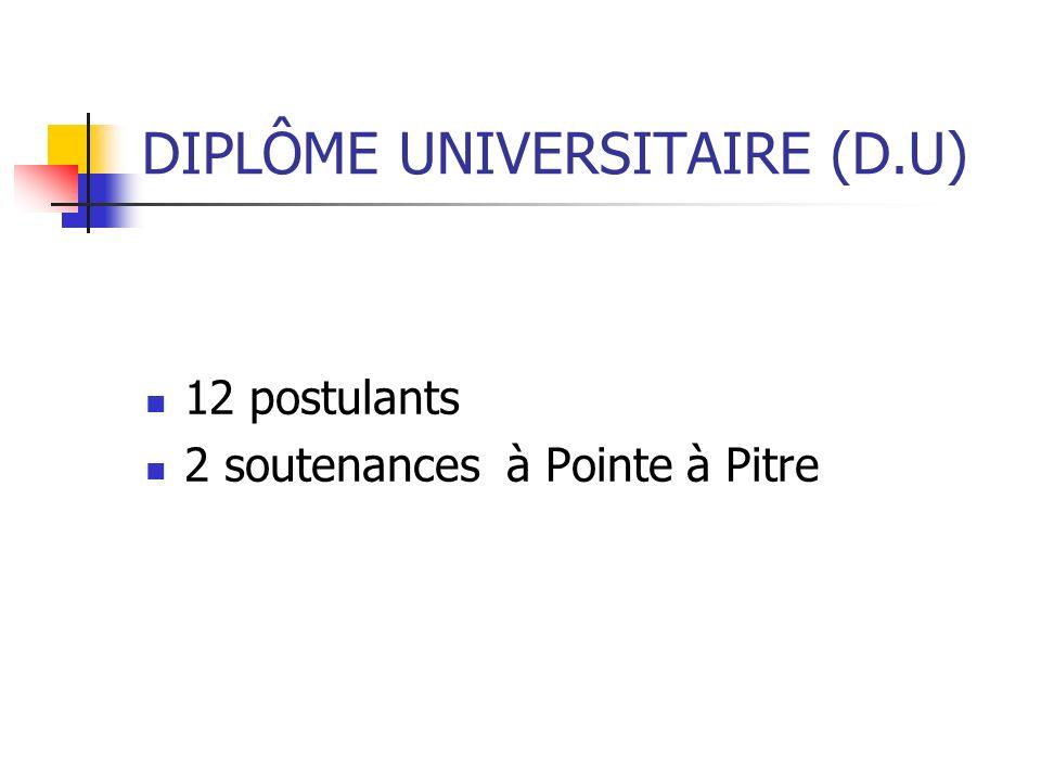 DIPLÔME UNIVERSITAIRE (D.U)