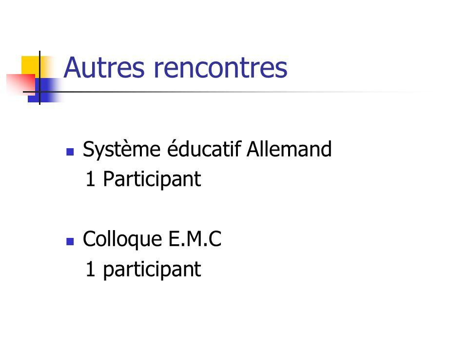 Autres rencontres Système éducatif Allemand 1 Participant