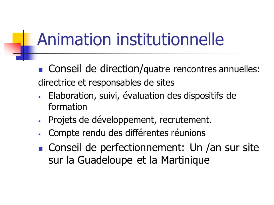 Animation institutionnelle