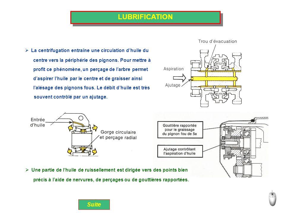 LUBRIFICATION La centrifugation entraîne une circulation d'huile du. centre vers la périphérie des pignons. Pour mettre à.