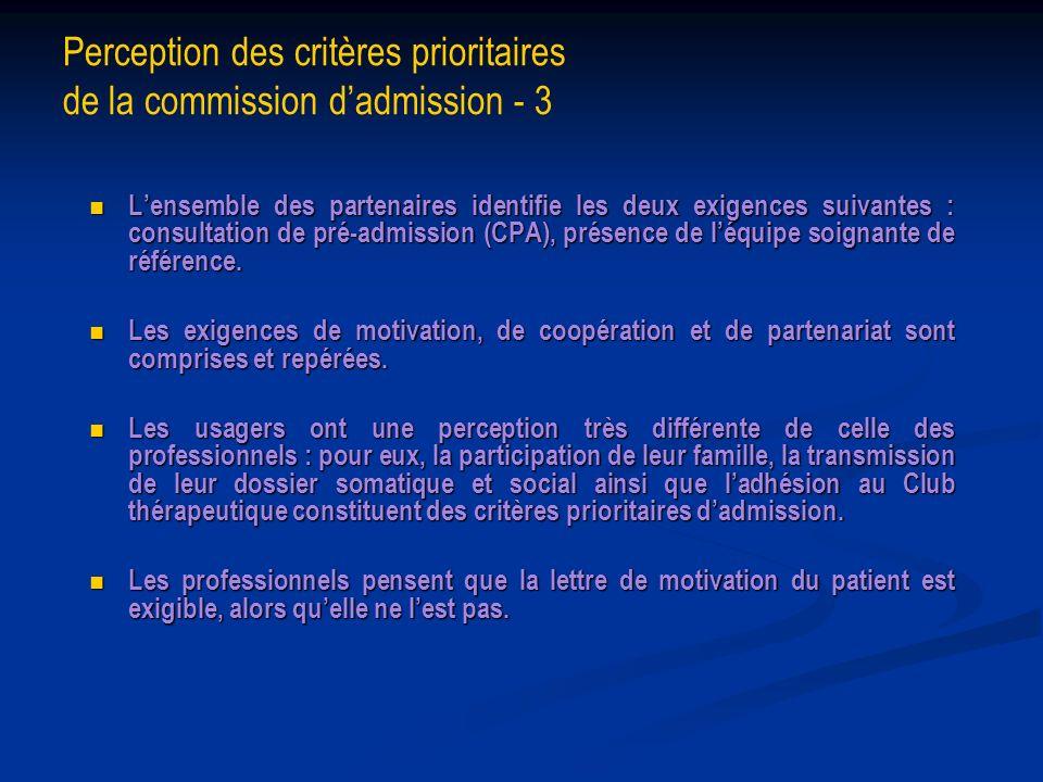 Perception des critères prioritaires de la commission d'admission - 3