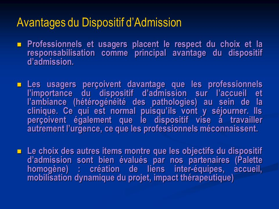 Avantages du Dispositif d'Admission