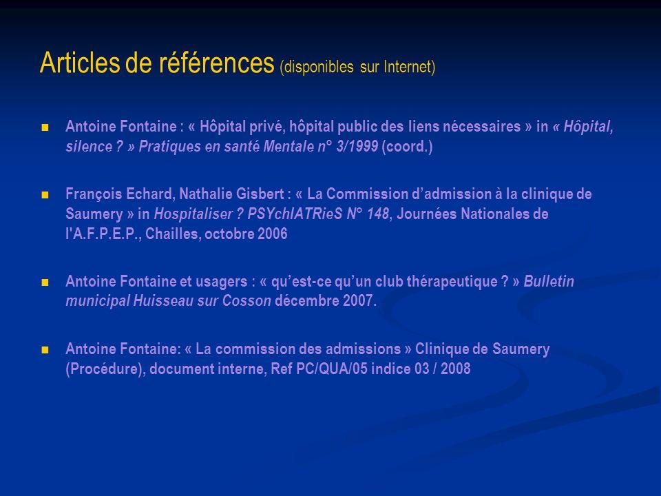 Articles de références (disponibles sur Internet)