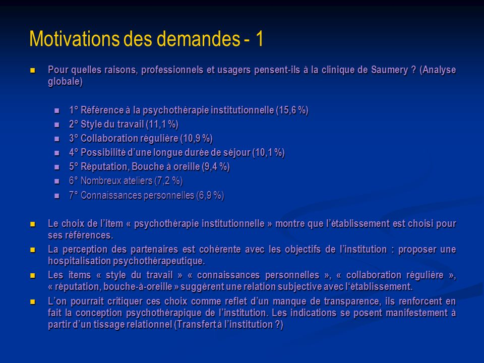 Motivations des demandes - 1