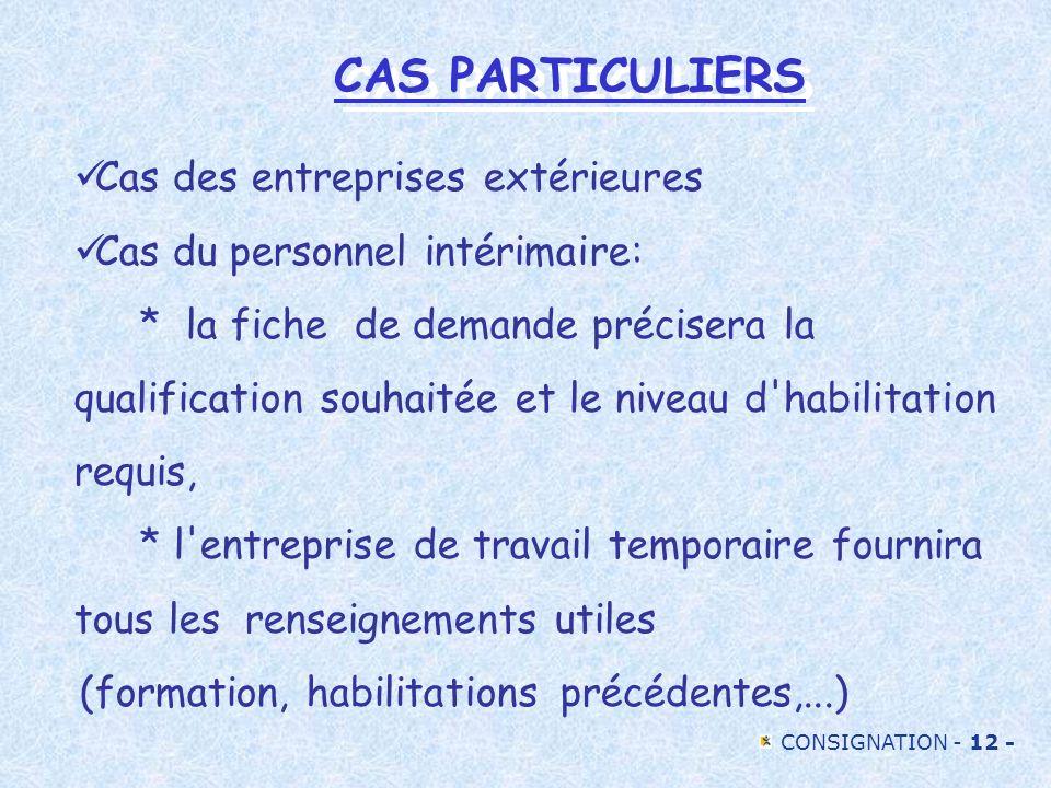 CAS PARTICULIERS Cas des entreprises extérieures