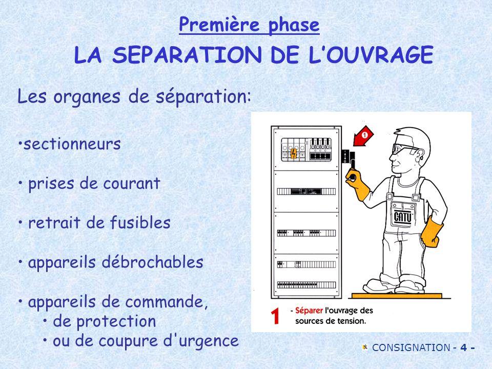 Première phase LA SEPARATION DE L'OUVRAGE