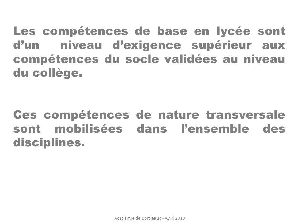 Académie de Bordeaux - Avril 2010