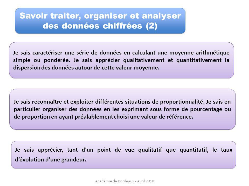 Savoir traiter, organiser et analyser des données chiffrées (2)