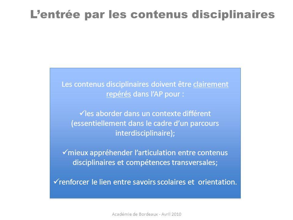 L'entrée par les contenus disciplinaires