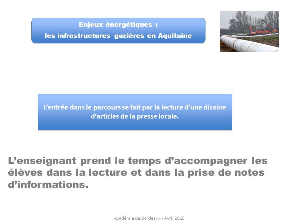 Enjeux énergétiques : les infrastructures gazières en Aquitaine.