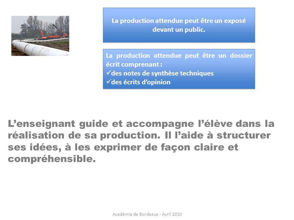 La production attendue peut être un exposé devant un public.