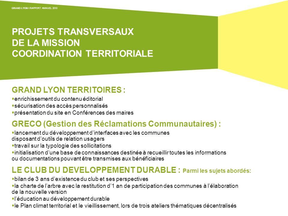 PROJETS TRANSVERSAUX DE LA MISSION COORDINATION TERRITORIALE