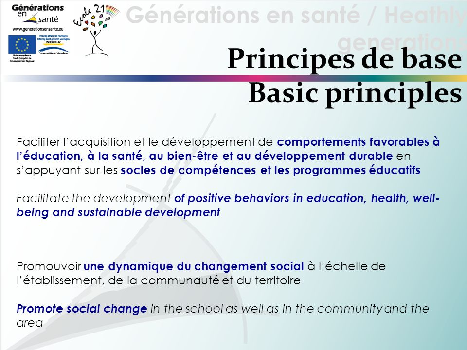 Principes de base Basic principles