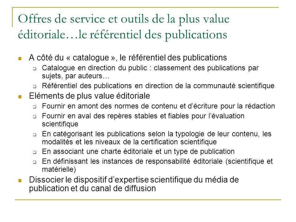 Offres de service et outils de la plus value éditoriale…le référentiel des publications