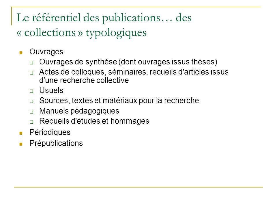 Le référentiel des publications… des « collections » typologiques