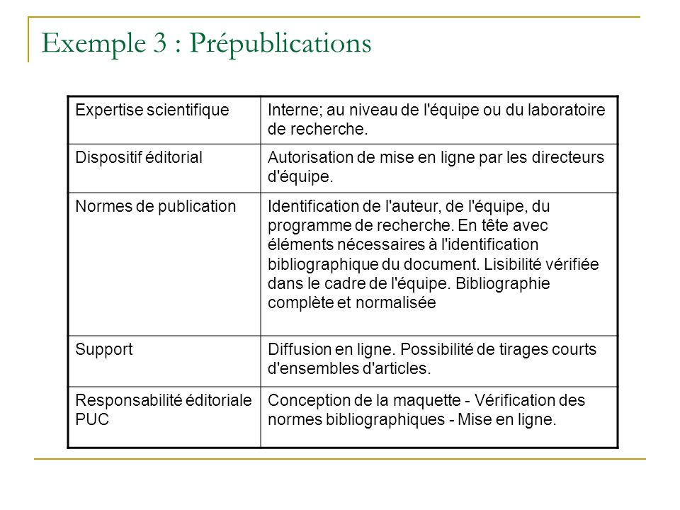 Exemple 3 : Prépublications