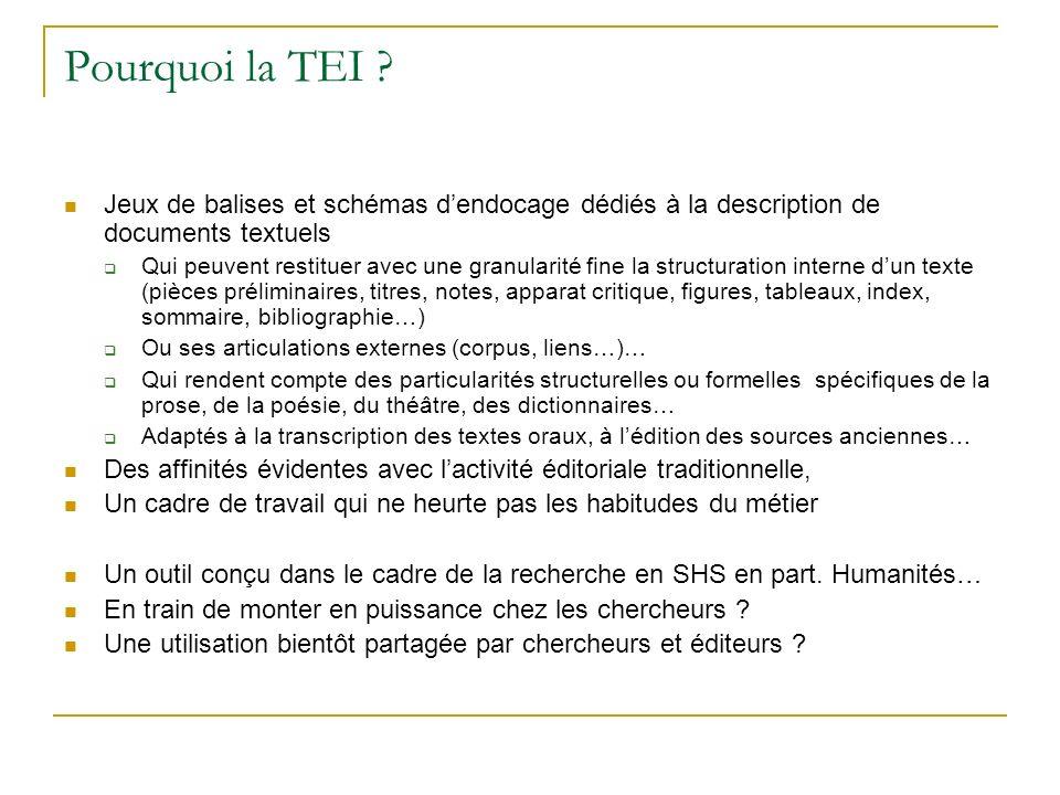 Pourquoi la TEI Jeux de balises et schémas d'endocage dédiés à la description de documents textuels.