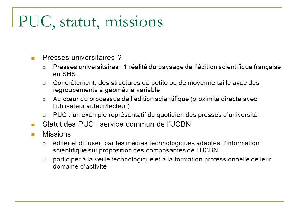 PUC, statut, missions Presses universitaires