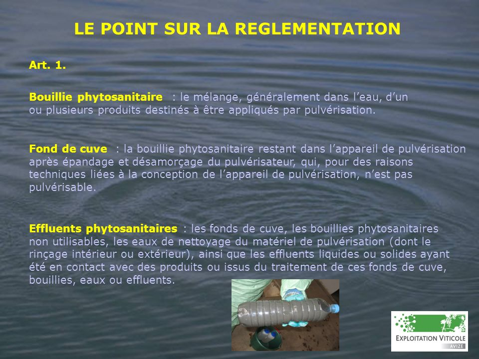 LE POINT SUR LA REGLEMENTATION