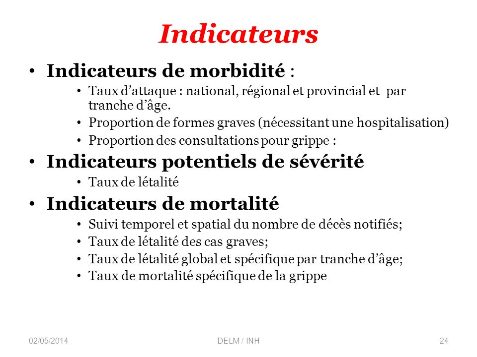 Indicateurs Indicateurs de morbidité :