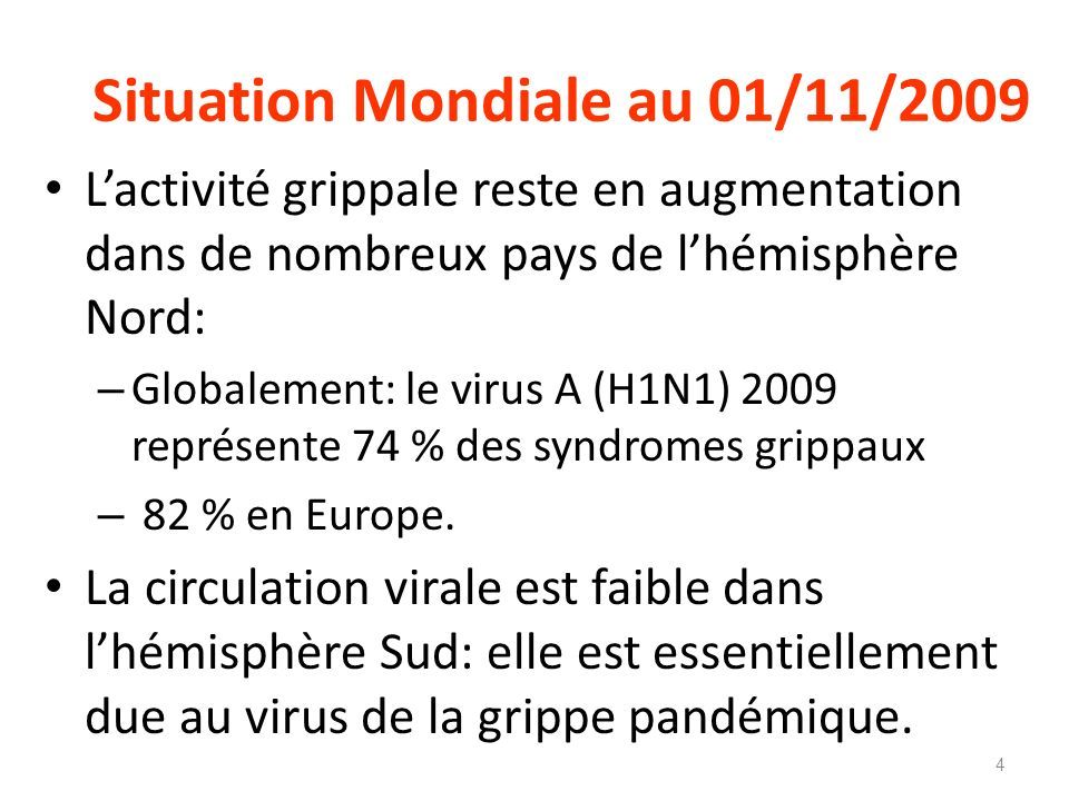 Situation Mondiale au 01/11/2009
