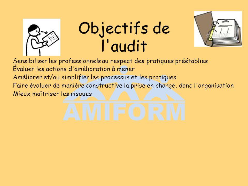 Objectifs de l audit Sensibiliser les professionnels au respect des pratiques préétablies. Évaluer les actions d amélioration à mener.
