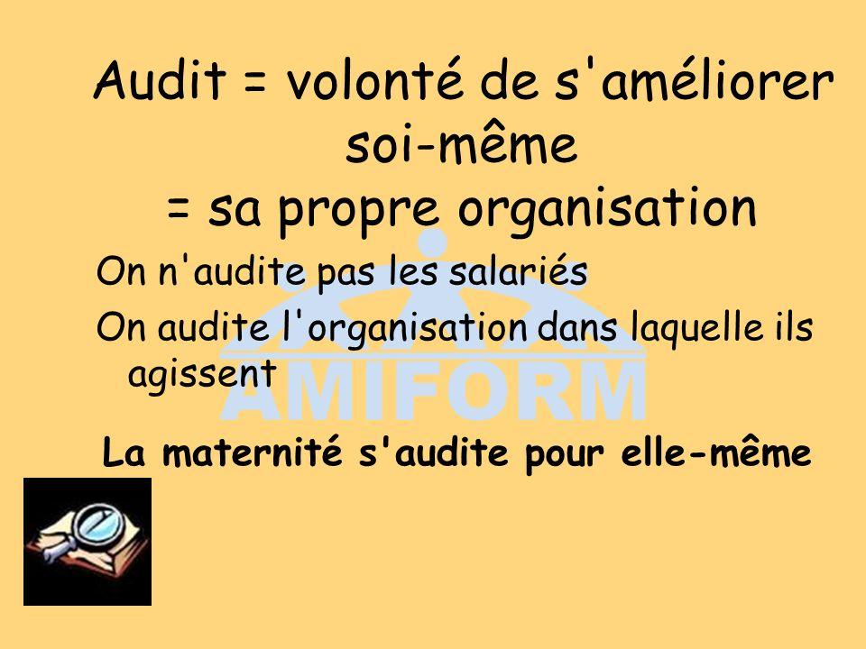 Audit = volonté de s améliorer soi-même = sa propre organisation