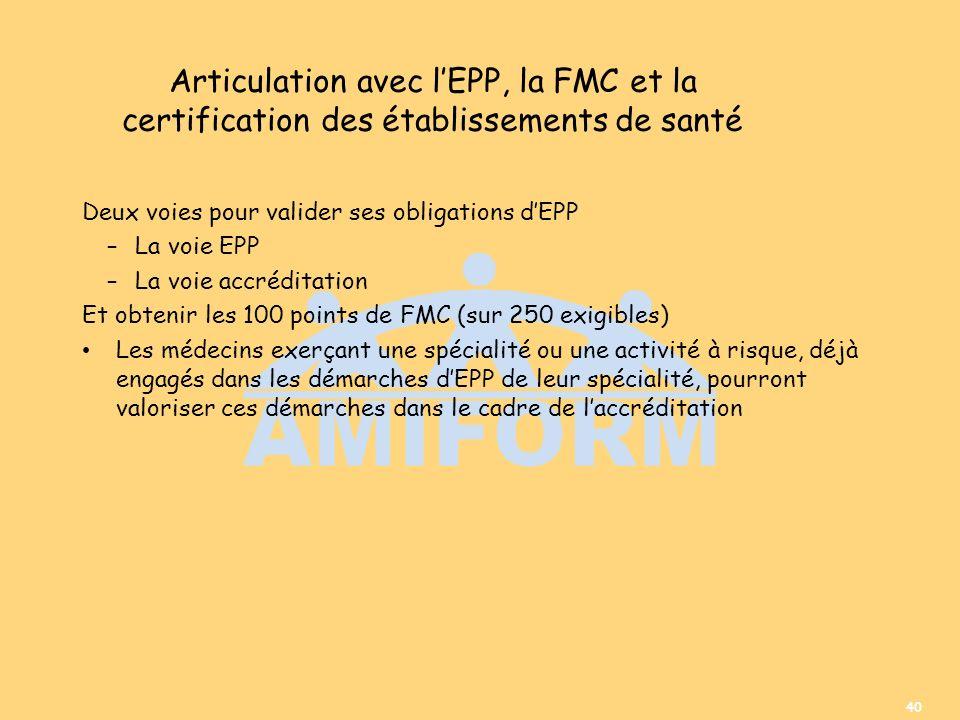 Articulation avec l'EPP, la FMC et la certification des établissements de santé