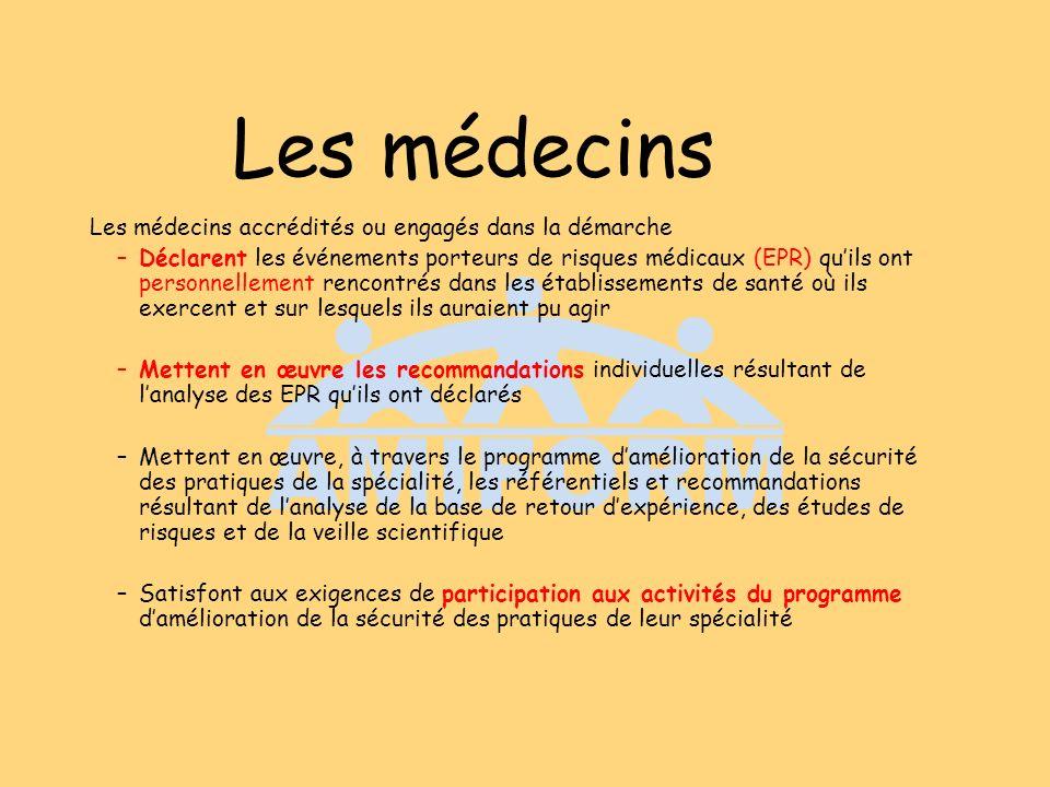 Les médecins Les médecins accrédités ou engagés dans la démarche