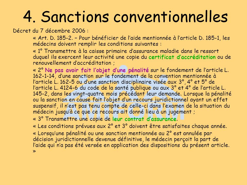 4. Sanctions conventionnelles