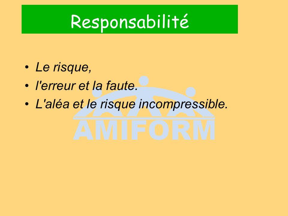 Responsabilité Le risque, l erreur et la faute.