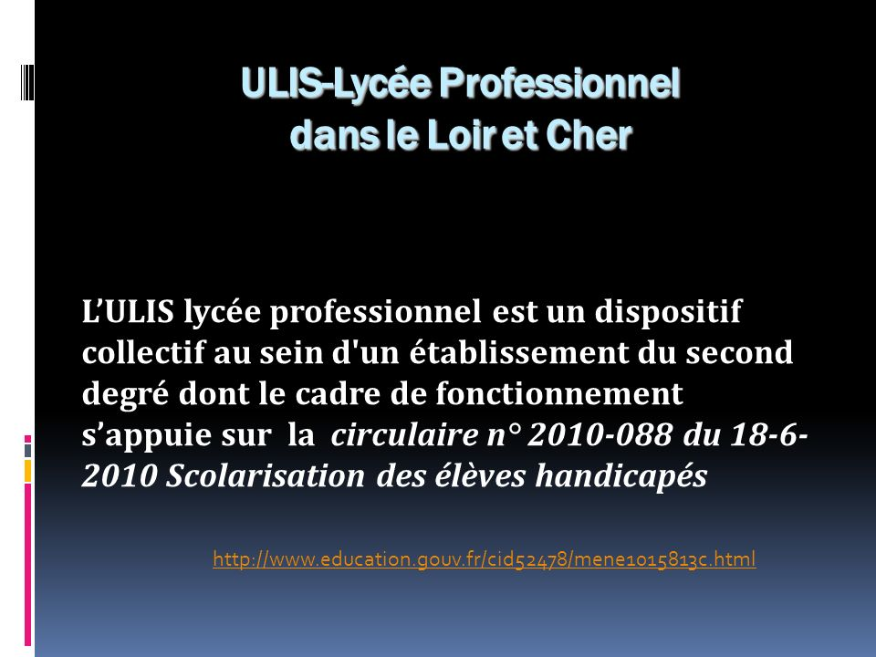 ULIS-Lycée Professionnel dans le Loir et Cher