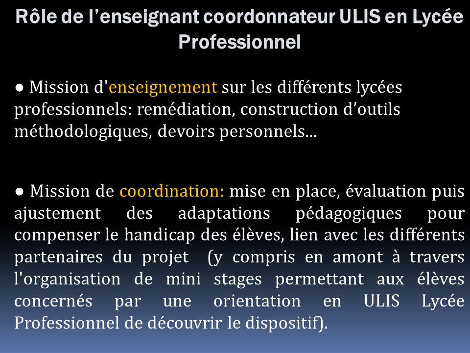 Rôle de l'enseignant coordonnateur ULIS en Lycée Professionnel