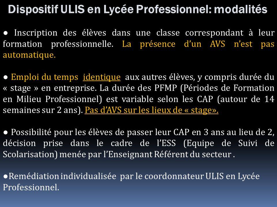 Dispositif ULIS en Lycée Professionnel: modalités