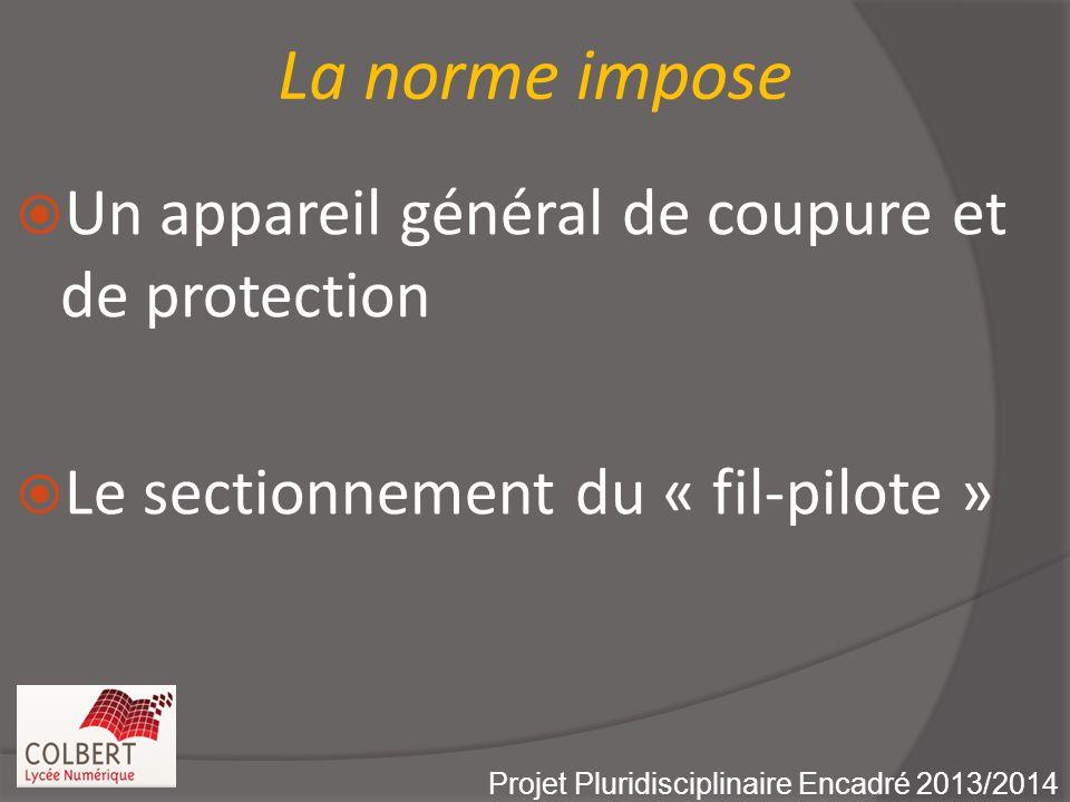 La norme impose Un appareil général de coupure et de protection