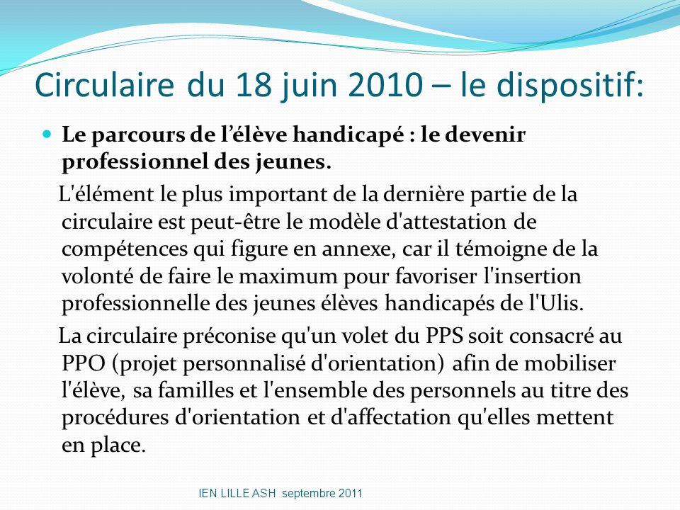 Circulaire du 18 juin 2010 – le dispositif: