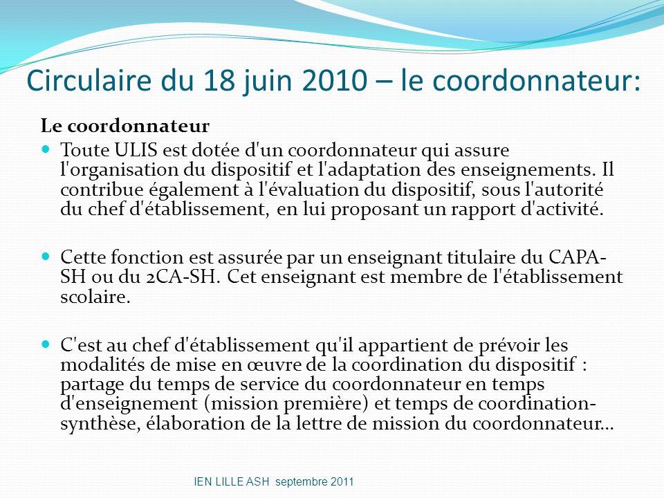 Circulaire du 18 juin 2010 – le coordonnateur: