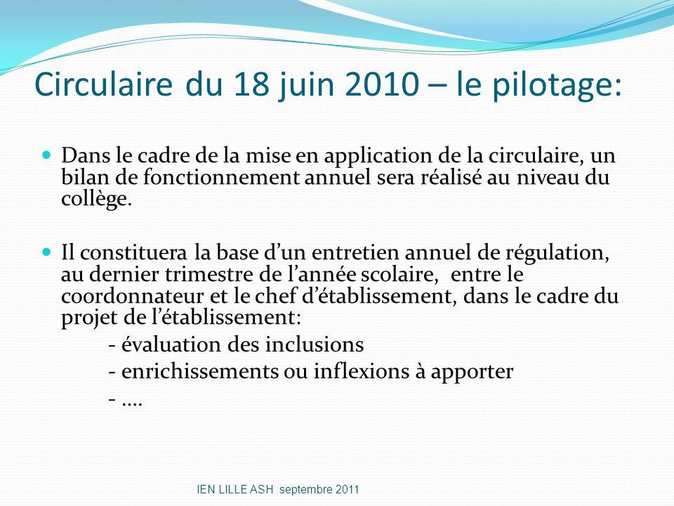 Circulaire du 18 juin 2010 – le pilotage:
