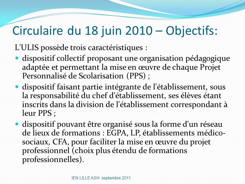 Circulaire du 18 juin 2010 – Objectifs: