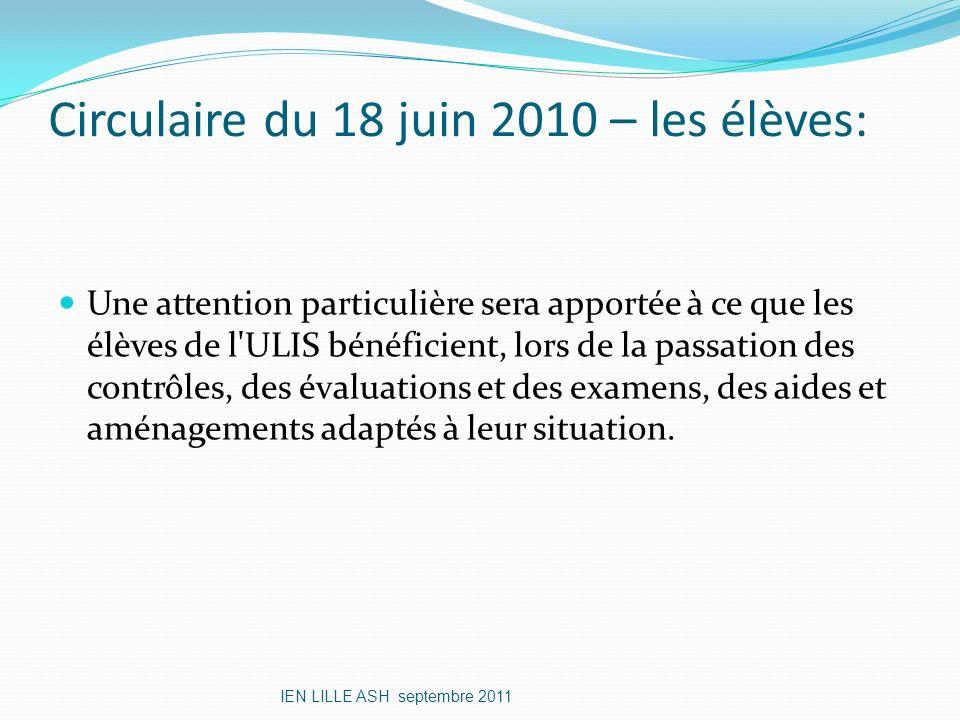 Circulaire du 18 juin 2010 – les élèves: