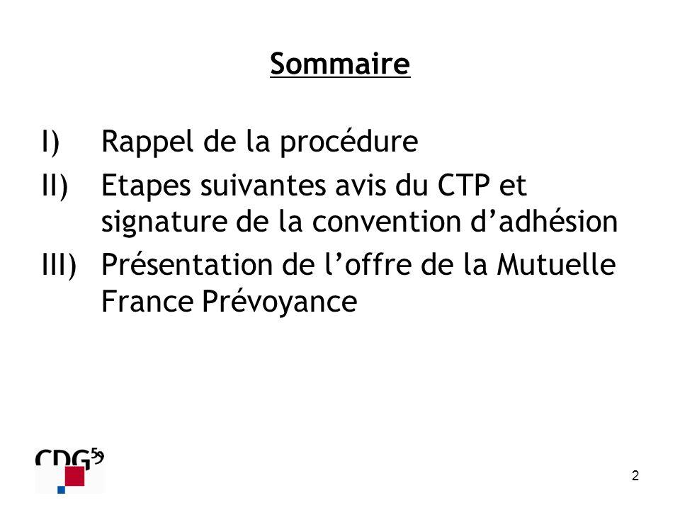 Sommaire Rappel de la procédure. Etapes suivantes avis du CTP et signature de la convention d'adhésion.