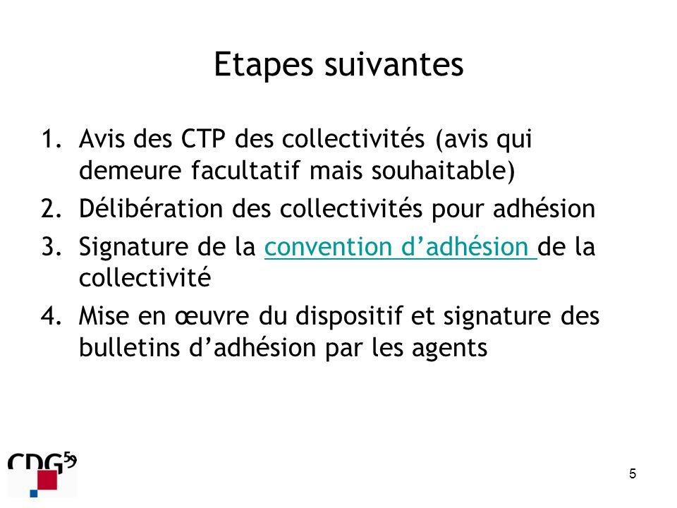 Etapes suivantes Avis des CTP des collectivités (avis qui demeure facultatif mais souhaitable) Délibération des collectivités pour adhésion.