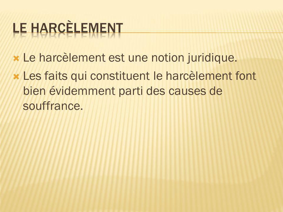 LE HARCÈLEMENT Le harcèlement est une notion juridique.