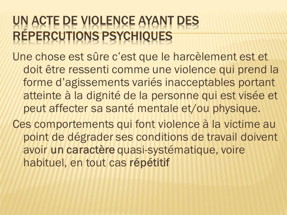Un ACTE DE violence ayant des répercutions psychiques