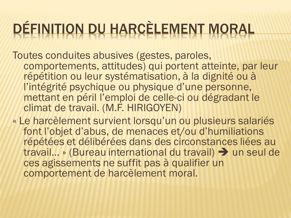 Définition du harcèlement moral