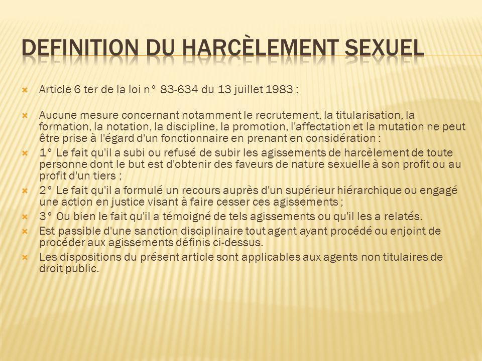 DEFINITION DU HARCÈLEMENT SEXUEL