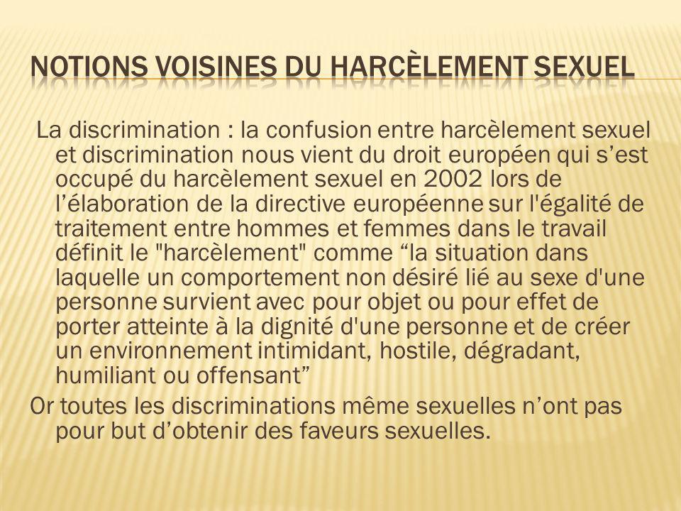 Notions voisines du harcèlement sexuel